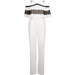 White bardot lace insert wide leg jumpsuit