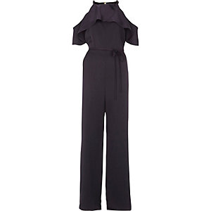 Navy frill cold shoulder wide leg jumpsuit