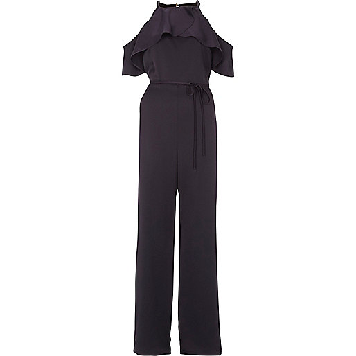 Navy frill cold shoulder wide leg jumpsuit