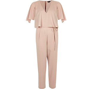 Light pink cape tapered leg jumpsuit