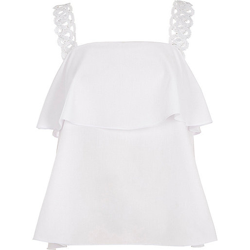 White crochet strap frill top