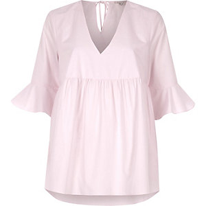 Pink poplin flared sleeve smock top