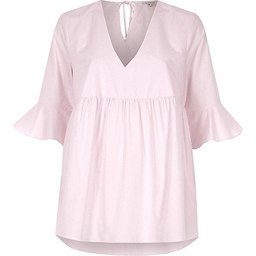 Pink poplin flared sleeve smock top
