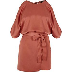 Copper red cold shoulder skort wrap playsuit