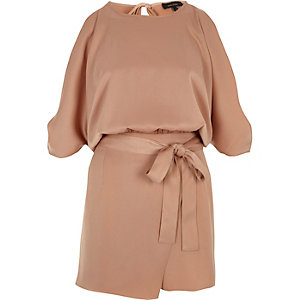 Beige cold shoulder wrap skort playsuit