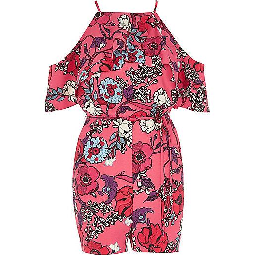 Pink floral frill cold shoulder playsuit