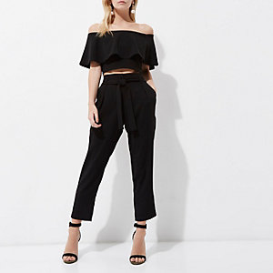 Petite black tie waist tapered pants