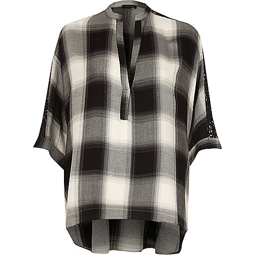 Black check lace sleeve top