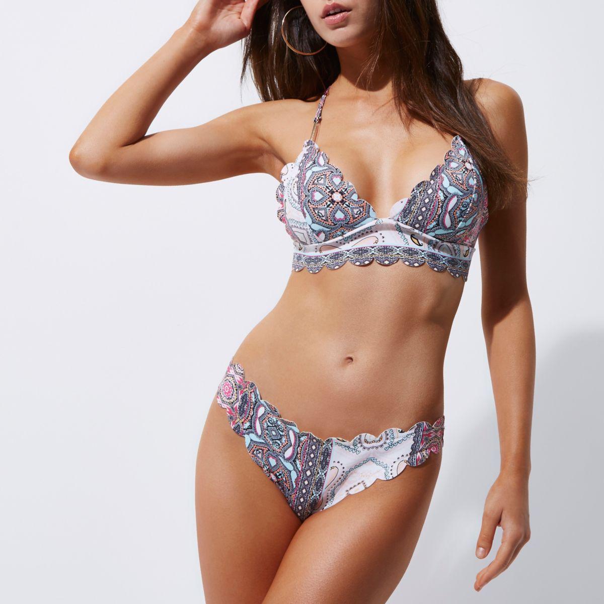 Pink paisley scallop detail bikini bottoms