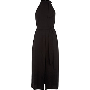 Black tie neck sleeveless belted dress