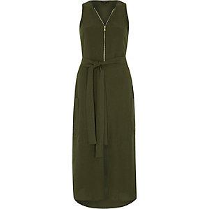 Khaki green zip front sleeveless midi dress