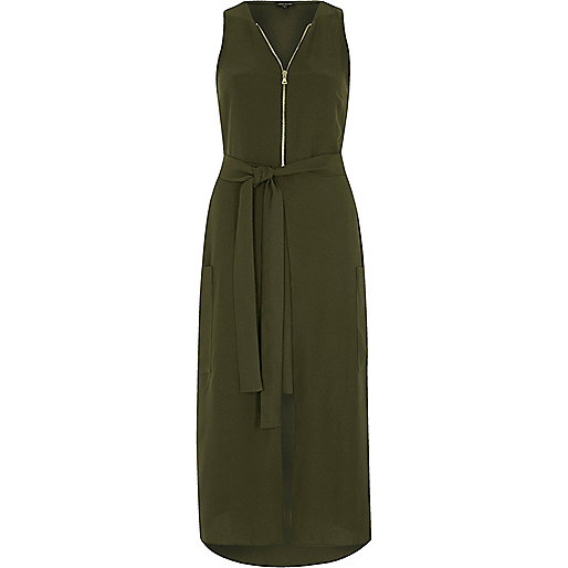 Khaki green zip front sleeveless midi dress