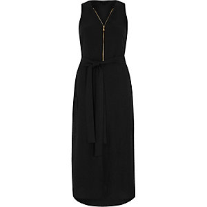 Black zip front sleeveless midi dress