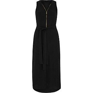 Zwarte mouwloze midi-jurk met rits voor