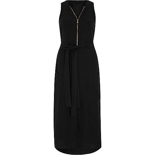Black zip front sleeveless midi dress