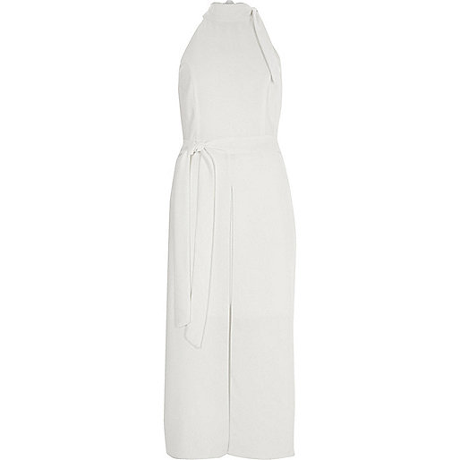 White high neck tie waist midi dress