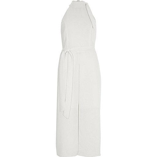 White high neck tie waist midi dress