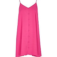 Pink button-down cami slip dress