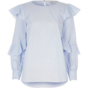Blue stripe frill sleeve top