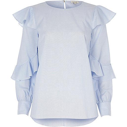 Blue stripe frill sleeve top