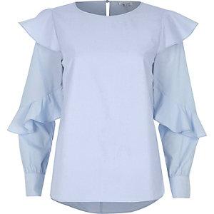 Light blue long sleeve frill top