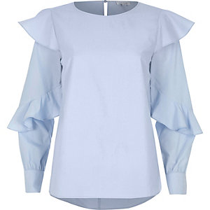 Light blue long sleeve frill top