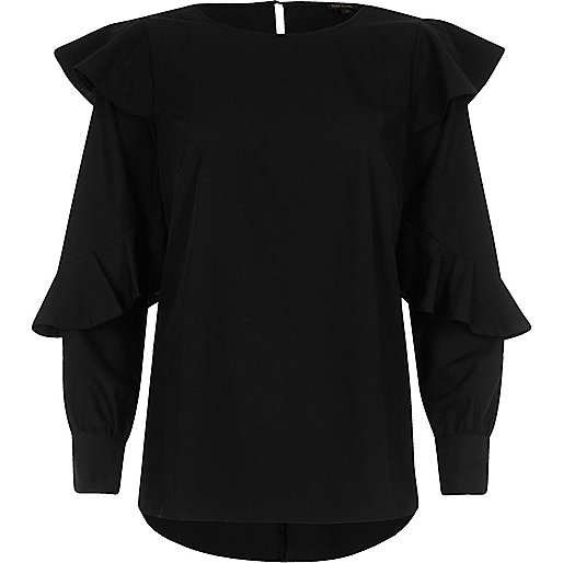 Black long sleeve frill top
