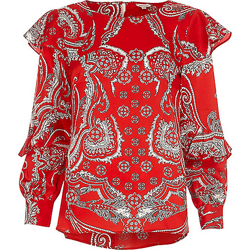 Red paisley print long sleeve frill top