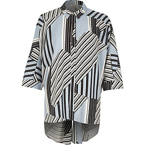 Blue stripe knot back oversized shirt
