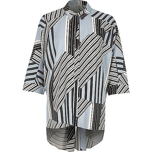 Blue stripe knot back oversized shirt