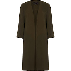 Khaki green tie back duster coat
