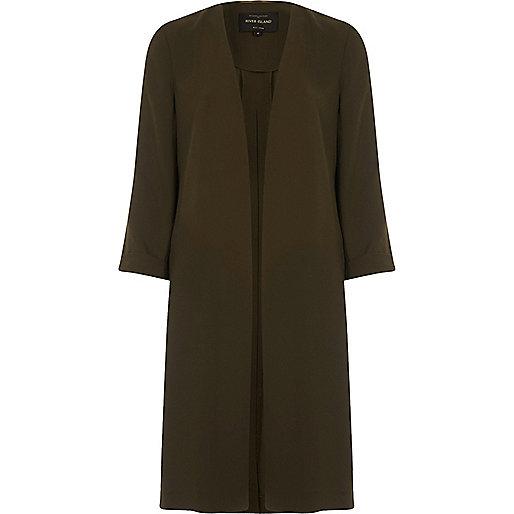 Khaki green tie back duster coat