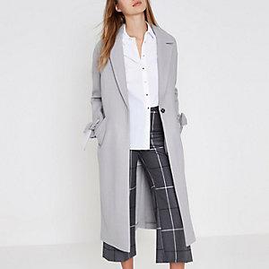 Grey tie cuff coat