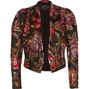 Black jacquard puff sleeve jacket