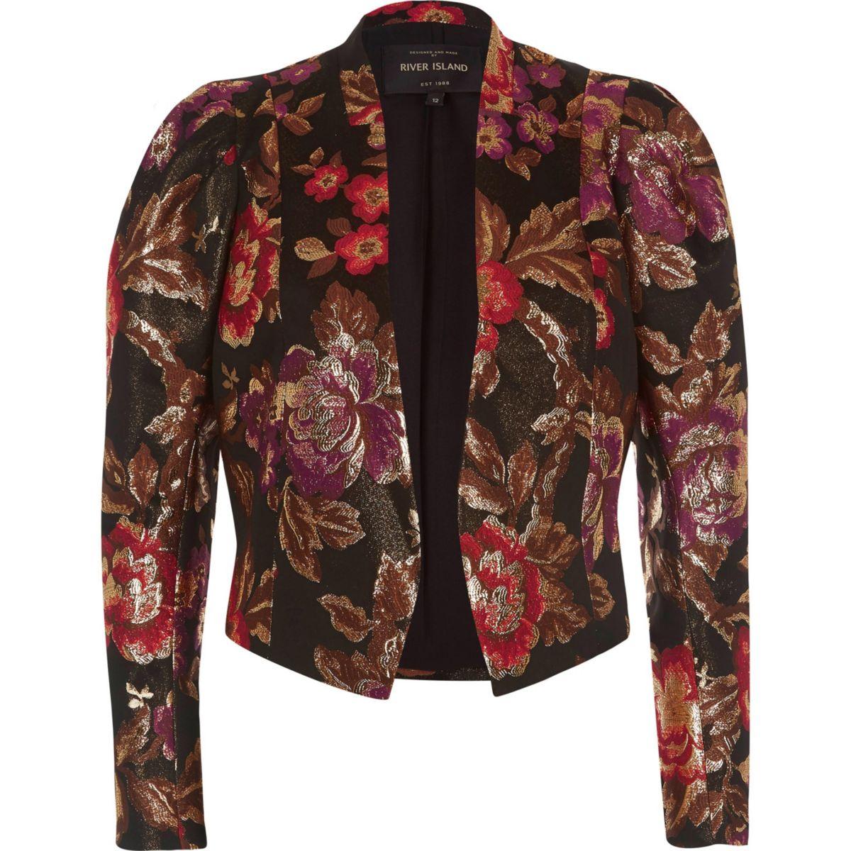 Black jacquard puff sleeve jacket