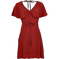 Darl red cape tea dress