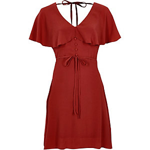 Dark red cape tea dress