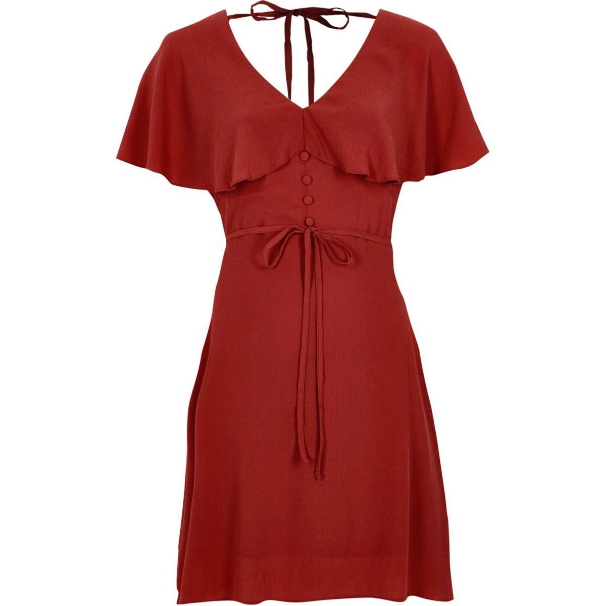 Dark red cape tea dress
