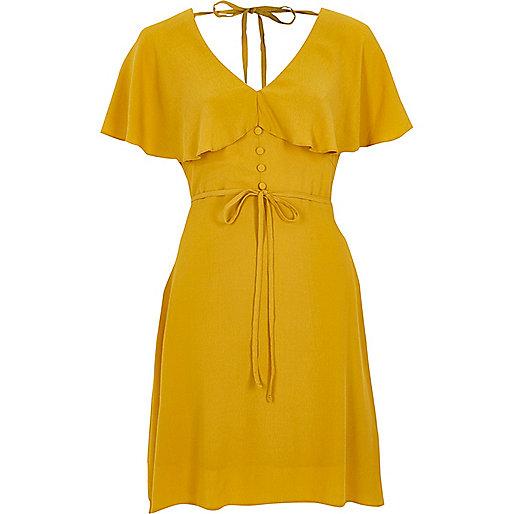 Dark yellow cape tea dress - Swing Dresses - Dresses - women