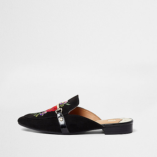 Black floral backless loafers