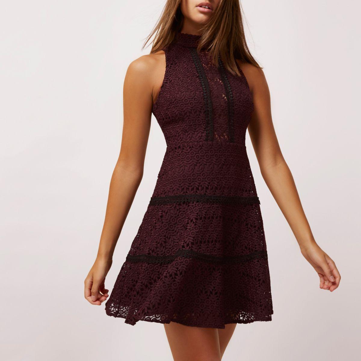 Dark red crochet high neck skater dress
