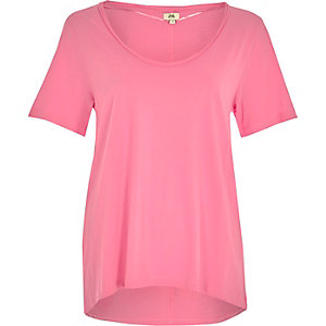 Bright pink scoop neck T-shirt