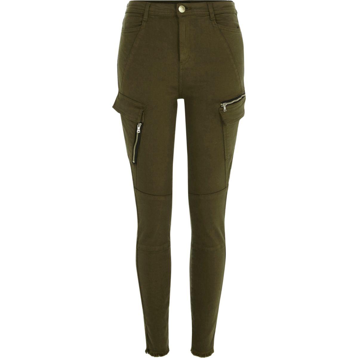 Khaki green skinny combat pants