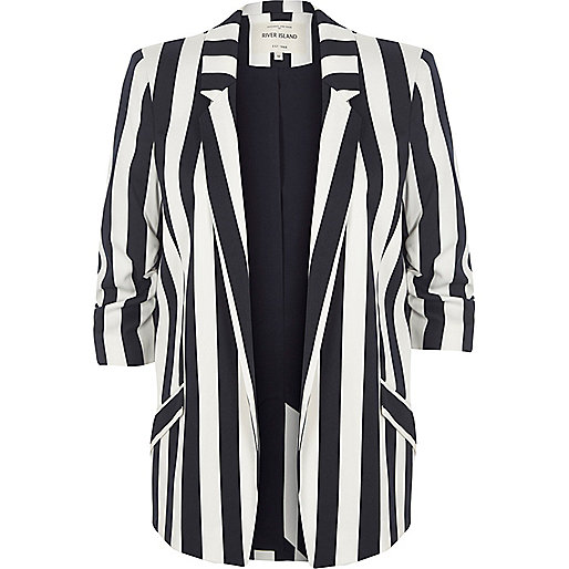 White and navy stripe ruched sleeve blazer