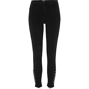 Black eyelet released hem Molly jeggings