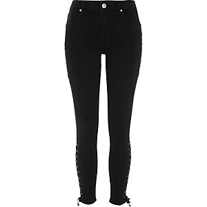 Black lace-up side Amelie super skinny jeans