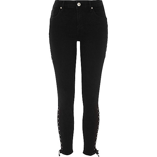 Black lace-up side Amelie super skinny jeans
