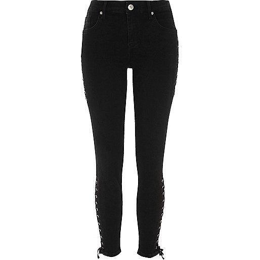 Amelie – Schwarze Superskinny Jeans mit Schnürung