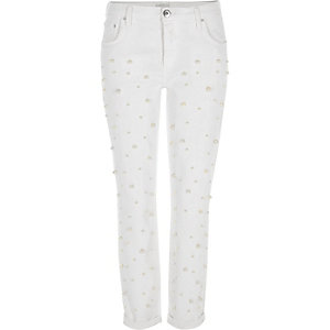 White faux pearl embellished boyfriend jeans