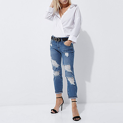 Petite blue authentic ripped boyfriend jeans